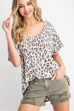 Buy Leopard V-Neck Oversize Casual Top Blush online at Southern Fashion Boutique Bliss