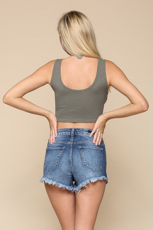 Buy Ribbed Singlet Crop Top Olive online at Southern Fashion Boutique Bliss