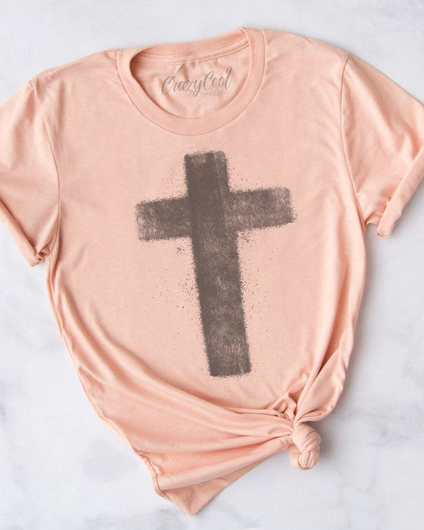 Buy Cross - Splatter Graphic Tee Peach online at Southern Fashion Boutique Bliss