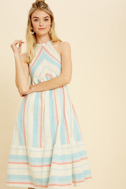 Striped Halter Neck Woven Dress Aqua