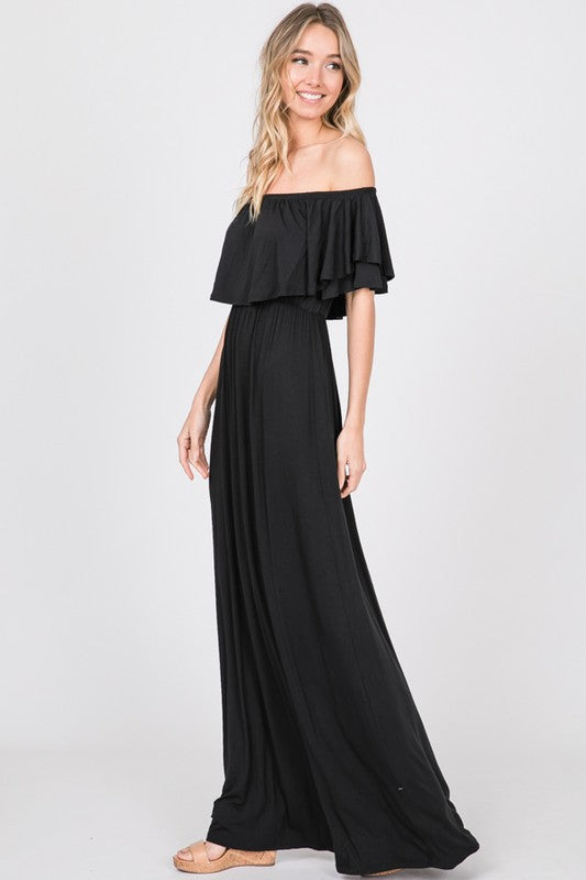 Buy Ruffled Off Shoulder Solid Maxi Dress Black online at Southern Fashion Boutique Bliss