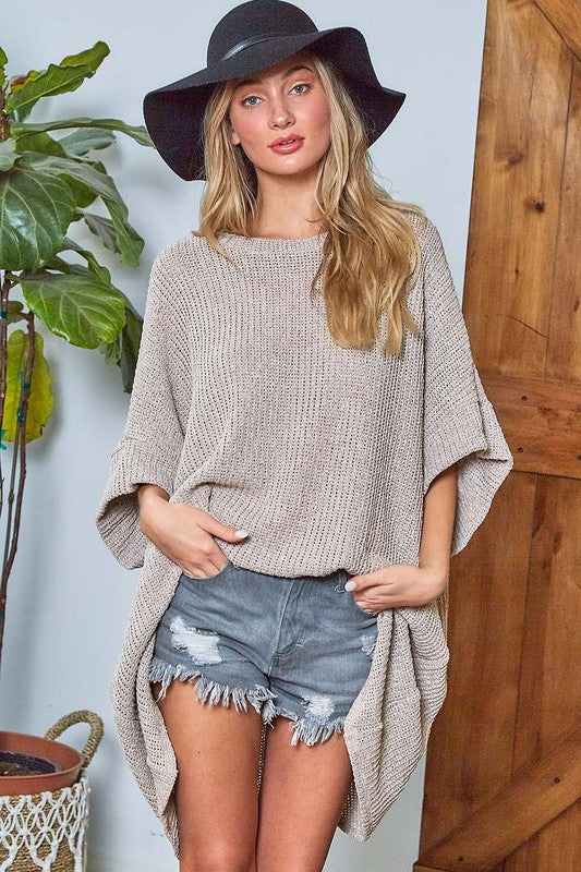 Half Sleeve Oversized Sweater Oatmeal