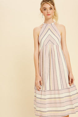 Striped Halter Neck Woven Dress Plum