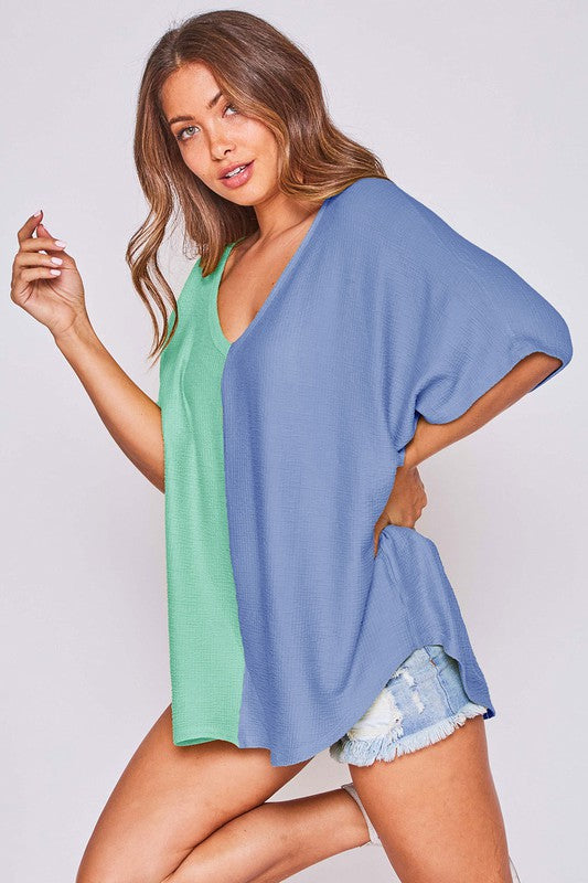 Buy Two Tone Color Blocked V Neck Top Mint/Blue online at Southern Fashion Boutique Bliss