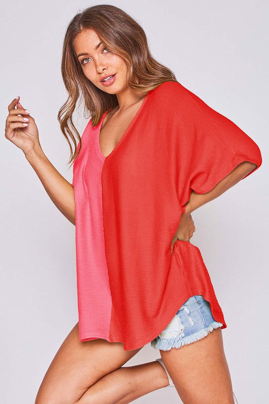 Two Tone Color Blocked V Neck Top Pink/Red
