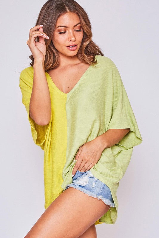 Two Tone Color Blocked V Neck Top Yellow/Green