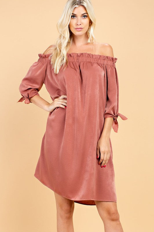 Off Shoulder Neckline Dress Bronze