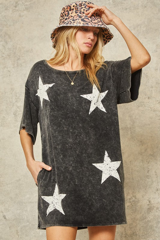 Buy Vintage Stars Graphic T-Shirt Mini Dress Charcoal online at Southern Fashion Boutique Bliss