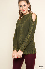 Buy Garment Dye Washed Cable Knit Sweater Olive online at Southern Fashion Boutique Bliss