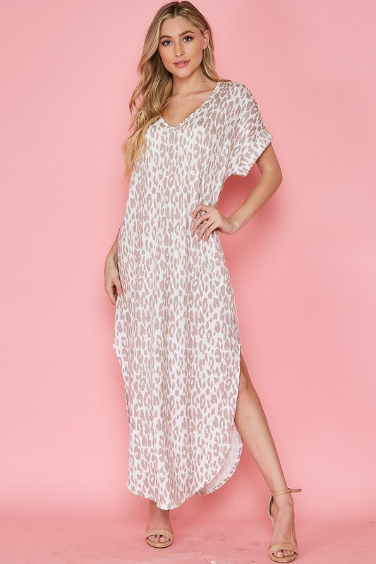 Buy Animal Print V-Neck Maxi Dress Off White/Camel online at Southern Fashion Boutique Bliss