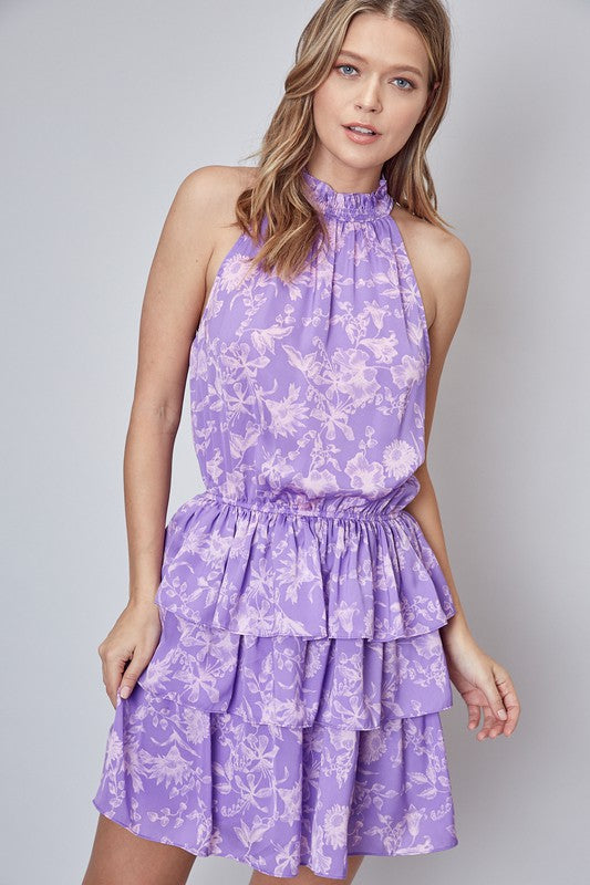 Sleeveless Mock Neck Dress Lavender