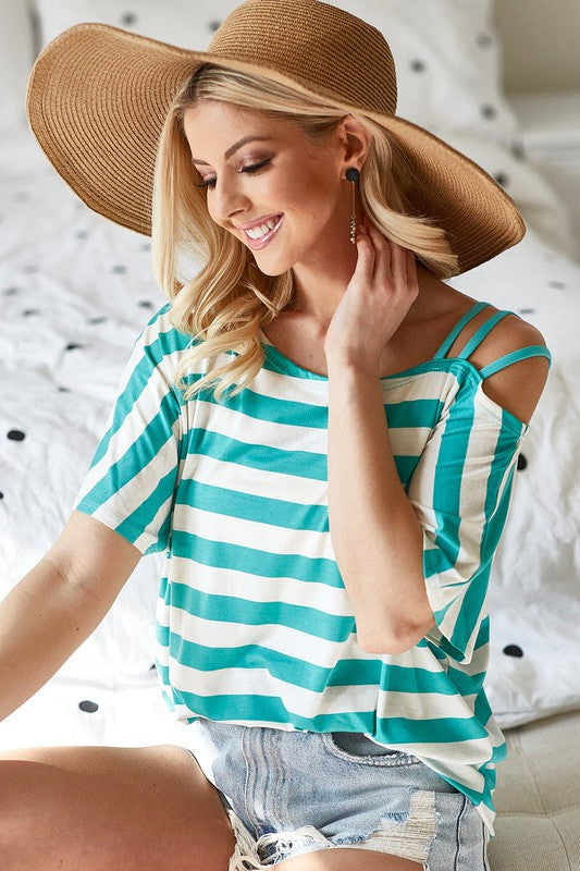 Stripe Rayon Span Knit Top Mint