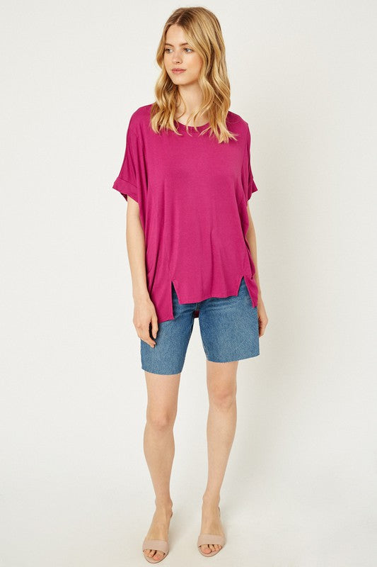 High Low Hem Cut Tee Magenta
