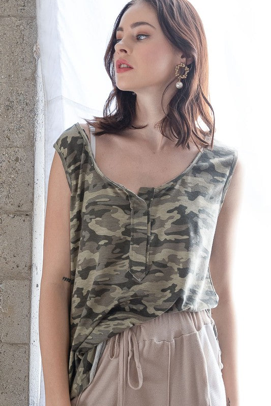 Buy Round Neck Camo Knit Top Camouflage online at Southern Fashion Boutique Bliss