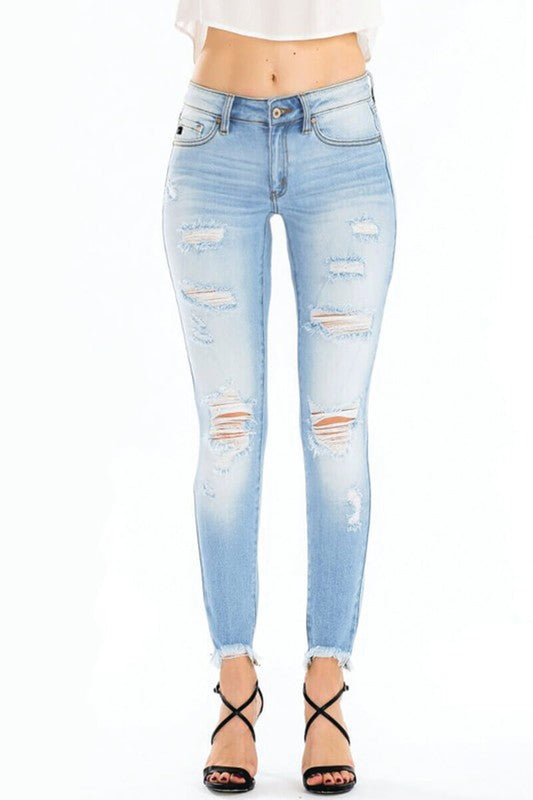 Buy Gemma Mid Rise Distressed Skinny Jeans Light online at Southern Fashion Boutique Bliss