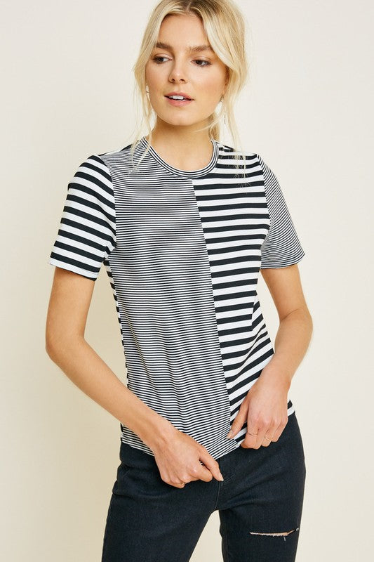 Dual Stripe Short Sleeve Top Black/White
