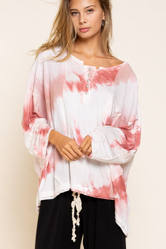 Hand Dipped Dyed Button Top Multi