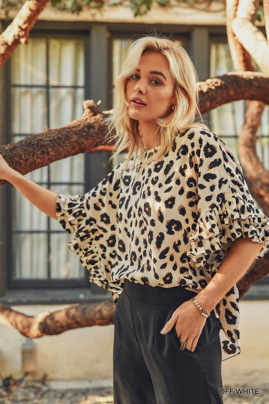 Buy Pleated Ruffle Sleeve Top Leopard online at Southern Fashion Boutique Bliss