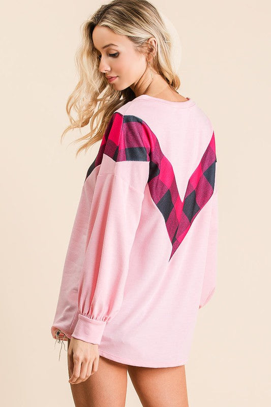 Buy French Terry Pullover Top w/Plaid Pink online at Southern Fashion Boutique Bliss