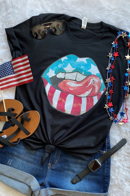 Buy Bc America Lips Graphic Tee Black online at Southern Fashion Boutique Bliss