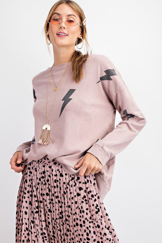 Lighting Print Terry Knit Top Mauve