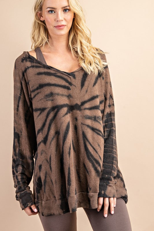 Buy Tie Dye Back Slit Round Neck Top Coffee online at Southern Fashion Boutique Bliss