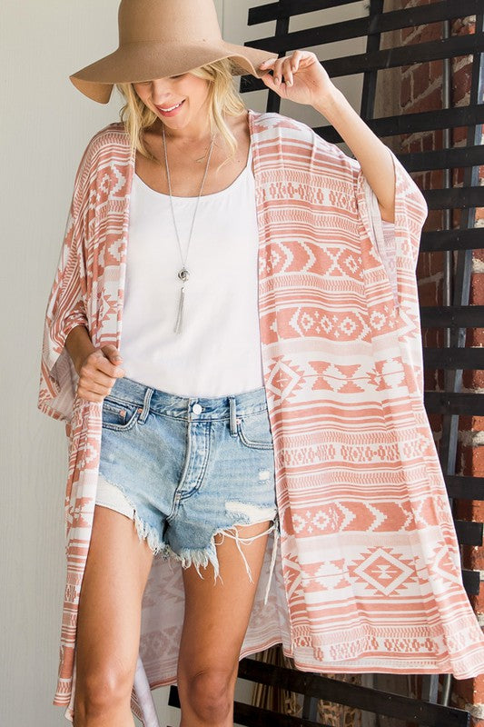 Buy Aztec Print Open Cardigan Peach online at Southern Fashion Boutique Bliss