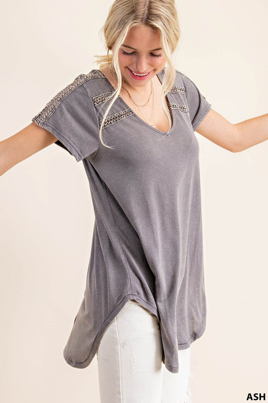 Double Trim Garment Dy Tee Top Ash
