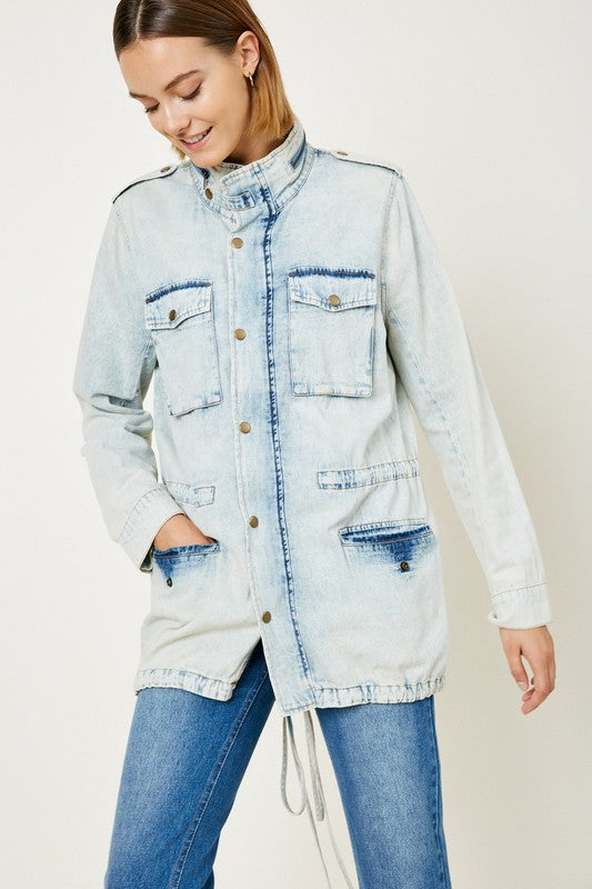 Buy Drawstring Denim Cargo Jacket Ice Denim online at Southern Fashion Boutique Bliss
