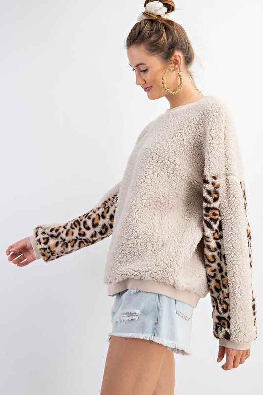 Buy Fur Mix Animal Print Top Oatmeal online at Southern Fashion Boutique Bliss