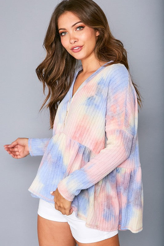 Buy Tie Dye Ribbed Knit Top Blue/Blush online at Southern Fashion Boutique Bliss