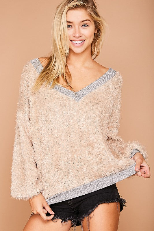 Furry Knit Top Taupe/Grey