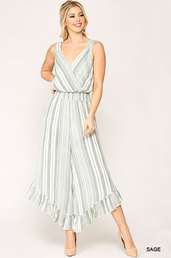 Buy Striped Surplice Neck Ruffled Jumpsuit Sage online at Southern Fashion Boutique Bliss