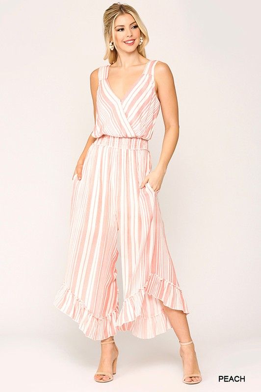 Striped Surplice Neck Ruffled Jumpsuit Peach