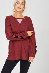 Buy Lace Up Long Sleeve Top Burgundy online at Southern Fashion Boutique Bliss
