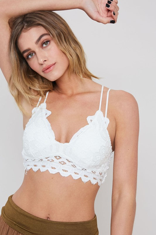 Buy Double Strap Scalloped Lace Bralette Charcoal online at Southern Fashion Boutique Bliss