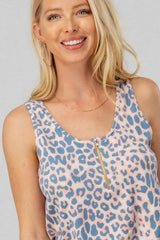 Buy Animal Print Tank with Zipper Detail Pink/Blue online at Southern Fashion Boutique Bliss