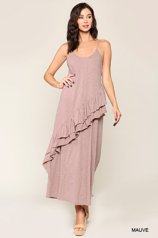 Sleeveless Ruffle Detail Maxi Dress Mauve
