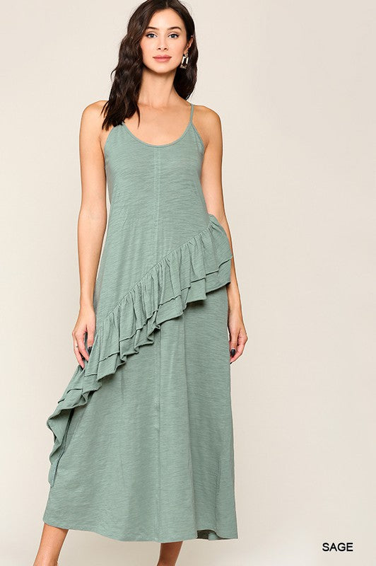 Sleeveless Ruffle Detail Maxi Dress Sage