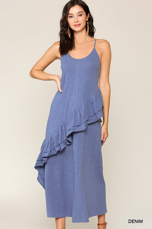 Sleeveless Ruffle Detail Maxi Dress Denim