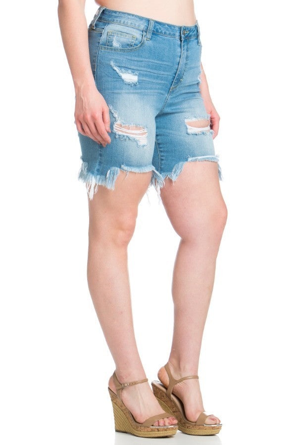 Buy Plus High Rise Bermuda Uneven Fray Hem Shorts Denim online at Southern Fashion Boutique Bliss