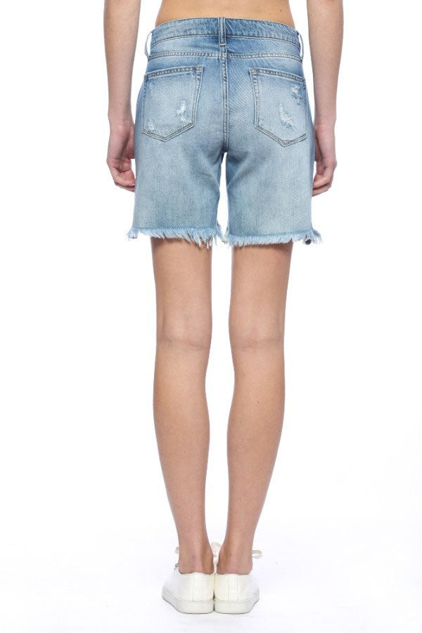 Buy Distressed Curve Frayed Hem Shorts Light Denim online at Southern Fashion Boutique Bliss