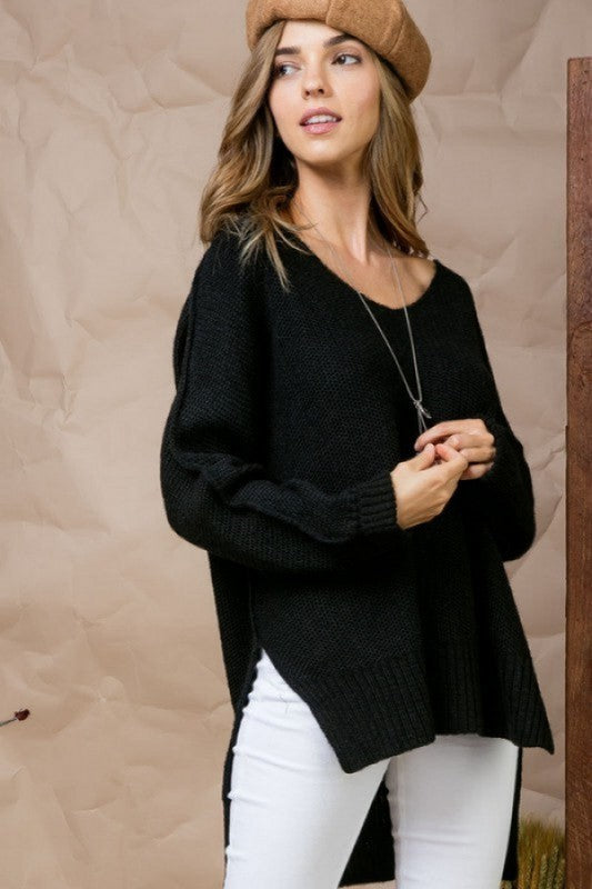 Buy Hi-Low Cozy Sweater Black online at Southern Fashion Boutique Bliss