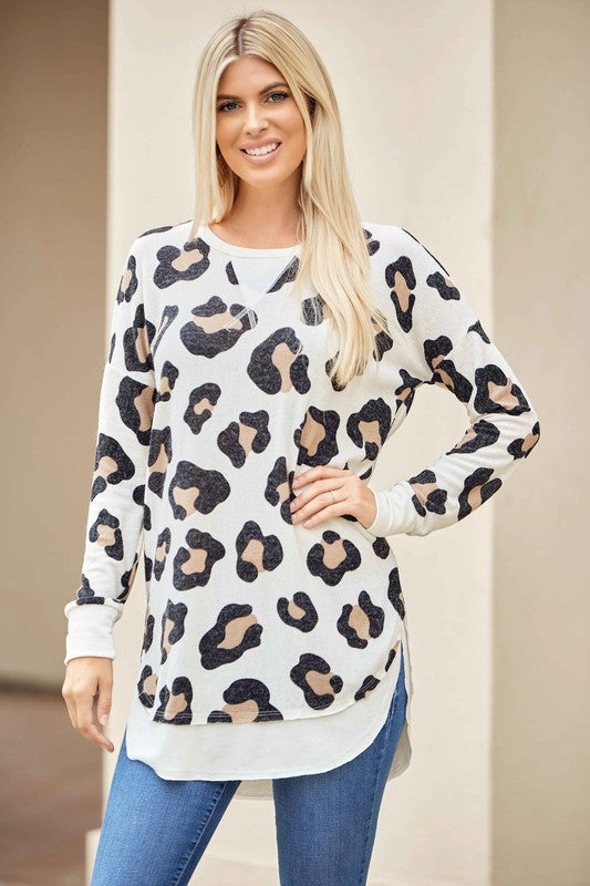 Round Neck Leopard Sweater Ivory