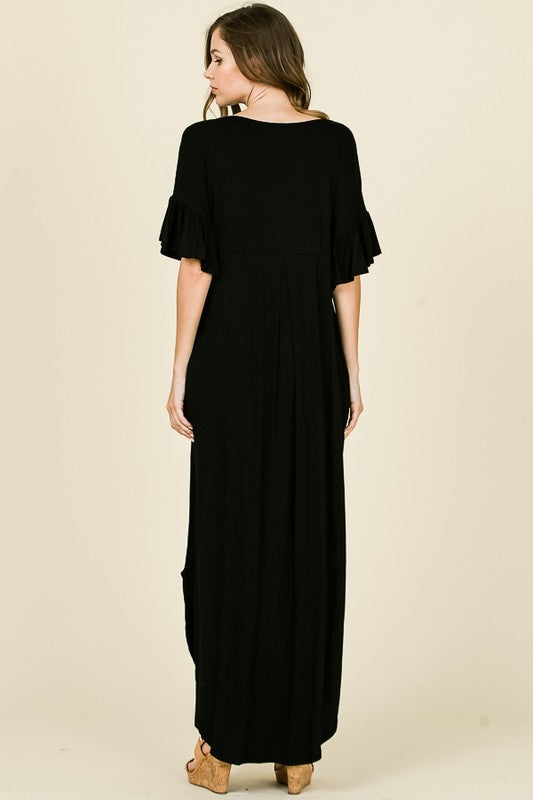 Solid Maxi Tee Dress Black