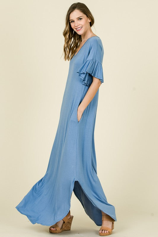 Solid Maxi Tee Dress Indigo Blue