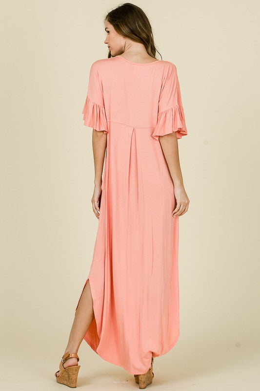 Solid Maxi Tee Dress Blush