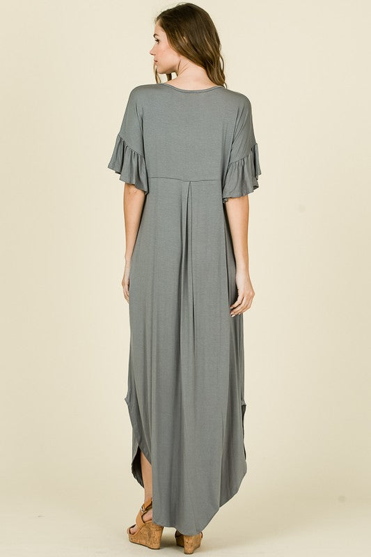 Solid Maxi Tee Dress Charcoal