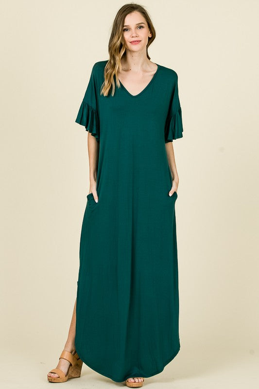 Buy Solid Maxi Tee Dress Hunter Green online at Southern Fashion Boutique Bliss