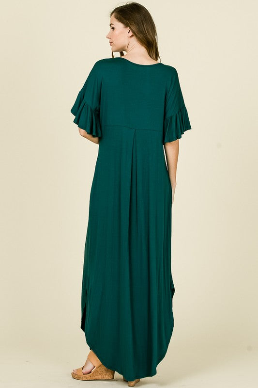 Solid Maxi Tee Dress Hunter Green